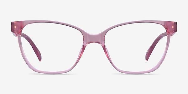 Almond Clear Pink Plastic Eyeglass Frames