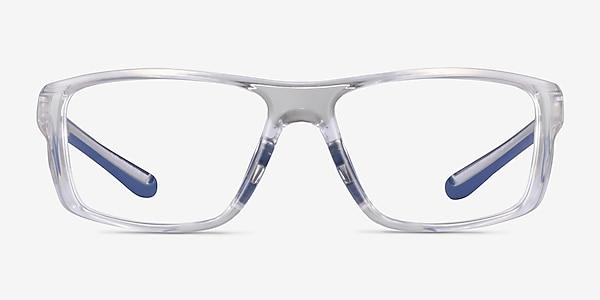 Buff Clear Blue Plastic Eyeglass Frames
