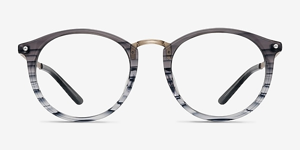 La Femme Gray Striped Acetate-metal Eyeglass Frames