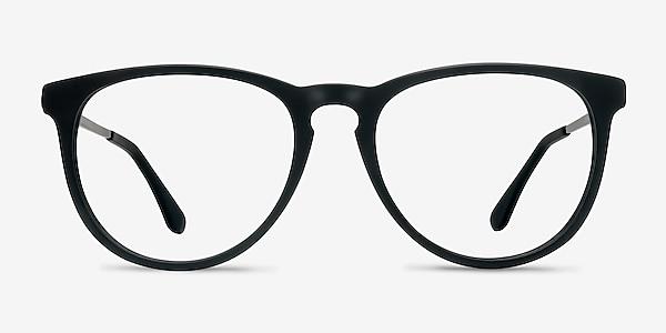 Ultraviolet Matte Black Acetate-metal Montures de lunettes de vue