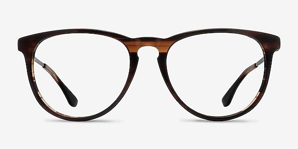 Ultraviolet Brown Striped Acetate-metal Eyeglass Frames
