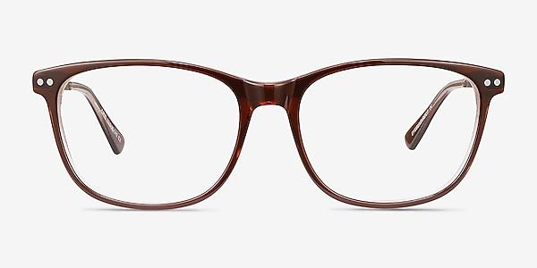 Grid Brown Acetate-metal Eyeglass Frames