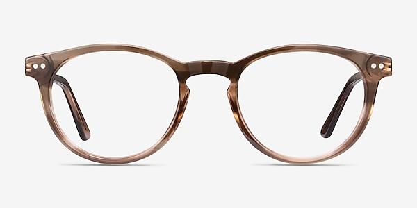 Traveller Brown Striped Acetate-metal Montures de lunettes de vue