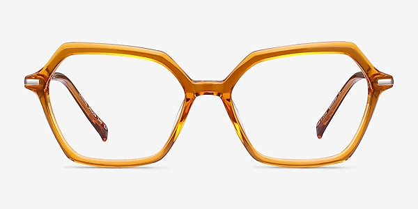 Carmel Mustard Acetate-metal Montures de lunettes de vue
