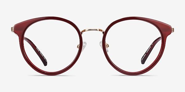 Jezzie Burgundy & Gold Acetate-metal Eyeglass Frames