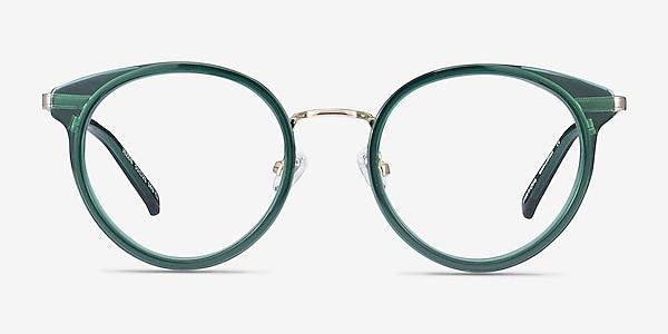 Jezzie Emerald Green & Gold Acetate-metal Eyeglass Frames