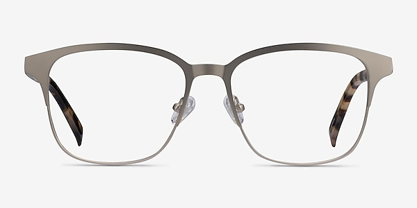 Intense Matte Silver Tortoise Acetate-metal Eyeglass Frames