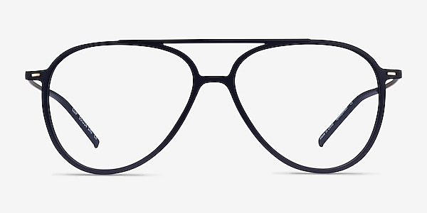 Clip Matte Navy & Gold Plastic-metal Eyeglass Frames