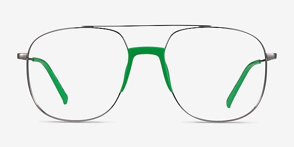 Subject Gunmetal & Green Acetate-metal Eyeglass Frames