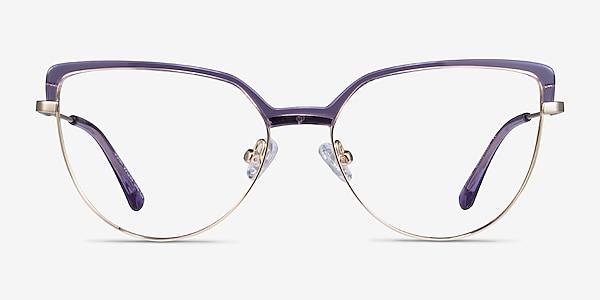Dona Clear Purple & Gold Acetate-metal Eyeglass Frames