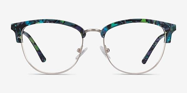 Sophisticated Blue Floral & Silver Acetate-metal Eyeglass Frames