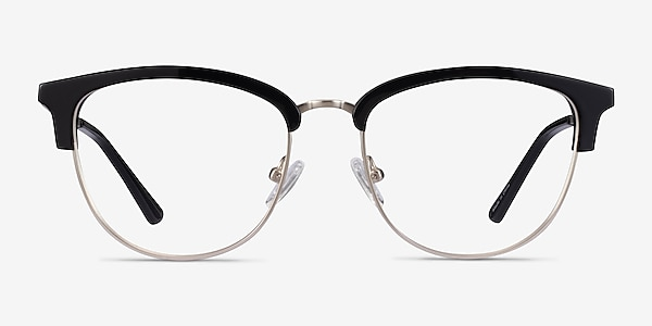 Sophisticated Black & Silver Acetate-metal Eyeglass Frames