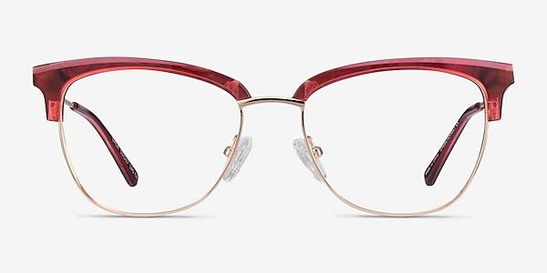 Gala Rapsberry & Gold Acetate-metal Montures de lunettes de vue