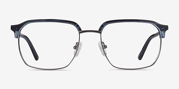 Break Blue Striped & Gunmetal Acetate-metal Montures de lunettes de vue