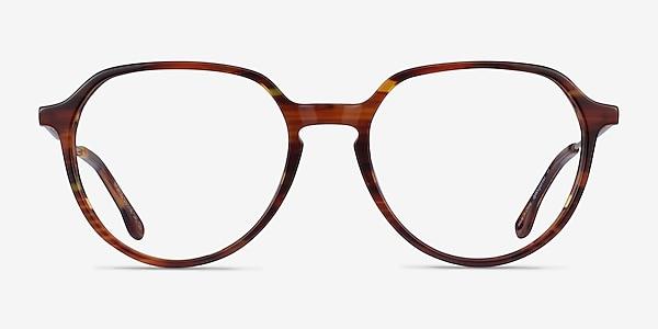 World Brown Striped Light Gold Acétate Montures de lunettes de vue