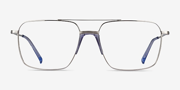 Matt Silver Blue Métal Montures de lunettes de vue