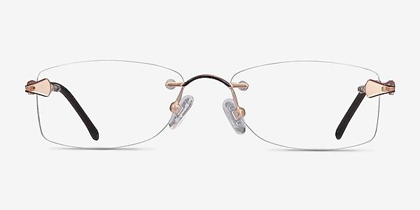 Rivet Golden/Brown Metal Eyeglass Frames