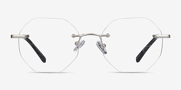 Generous Matte Silver Metal Eyeglass Frames