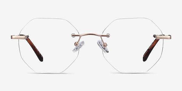 Generous Matte Gold Métal Montures de lunettes de vue