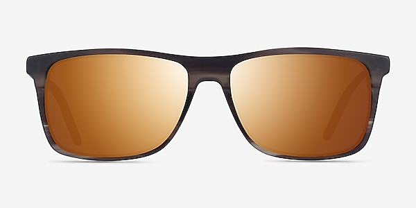 Catch Matte Striped Brown Acetate Sunglass Frames