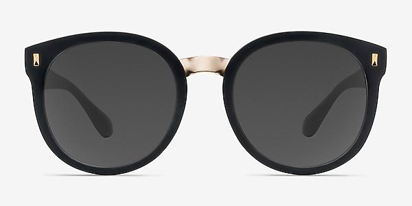Vedette Matte Black Plastic-metal Sunglass Frames