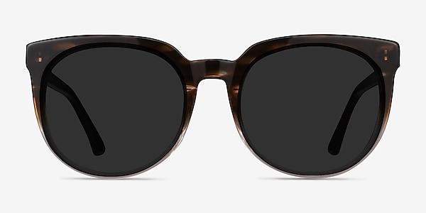 Queen Brown Striped Acetate Sunglass Frames