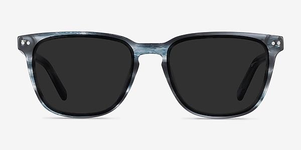 City Blue Striped Acetate Sunglass Frames