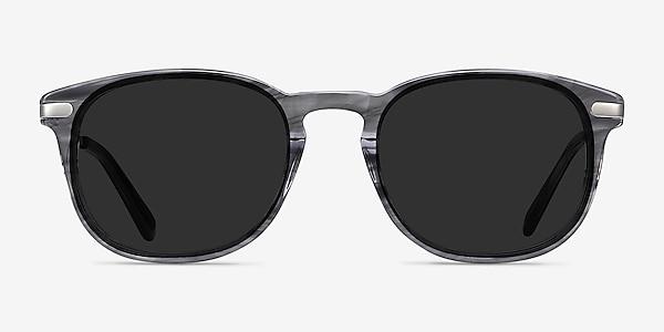 Council Gray Striped Acetate-metal Sunglass Frames