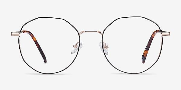 Julia Black & Gold Titanium Eyeglass Frames