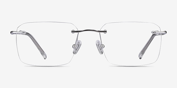Nate Silver Clear Titanium Eyeglass Frames