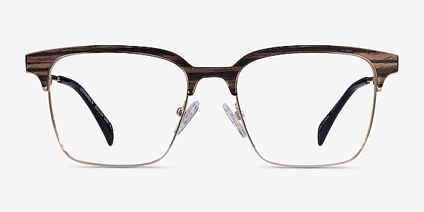 Evergreen Gold & Striped Woord Wood-texture Montures de lunettes de vue