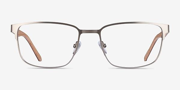 Silva Matte Silver Wood-texture Montures de lunettes de vue