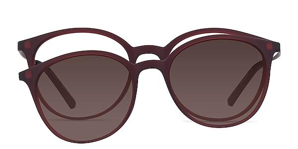 Alternative Clip-On Matte Burgundy Metal Eyeglass Frames