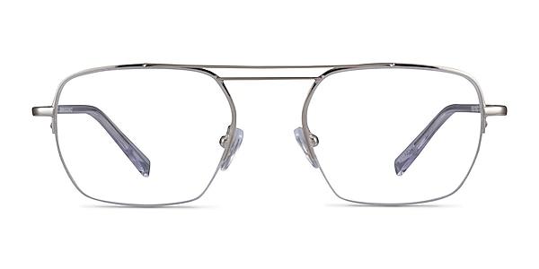 Cabrini Silver Clear Metal Eyeglass Frames