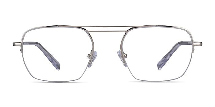 Cabrini Silver Clear Métal Montures de lunettes de vue d'EyeBuyDirect