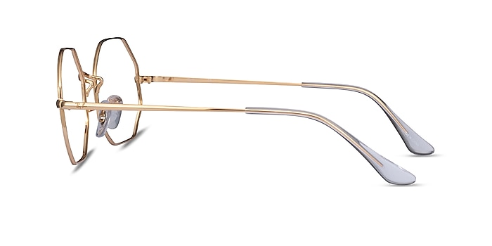 Ray-Ban Octagon Gold Metal Eyeglass Frames from EyeBuyDirect