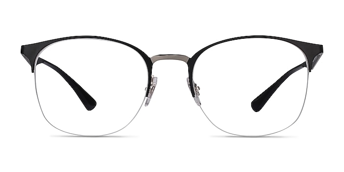 Ray-Ban RB6422 Black Silver Metal Eyeglass Frames from EyeBuyDirect