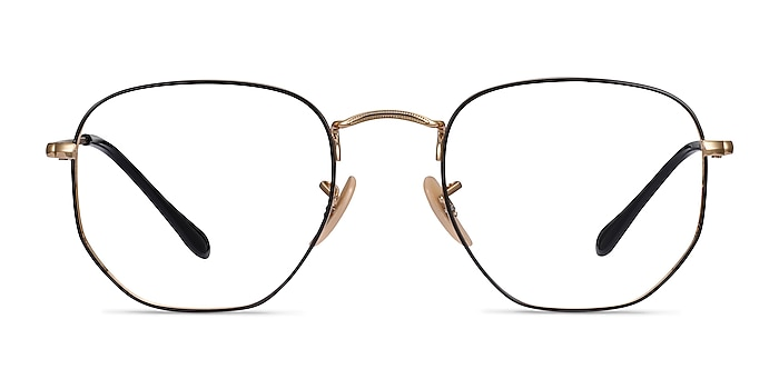 Ray-Ban RB6448 Black Gold Metal Eyeglass Frames from EyeBuyDirect