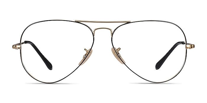 Ray-Ban RB6489 Black Gold Metal Eyeglass Frames from EyeBuyDirect