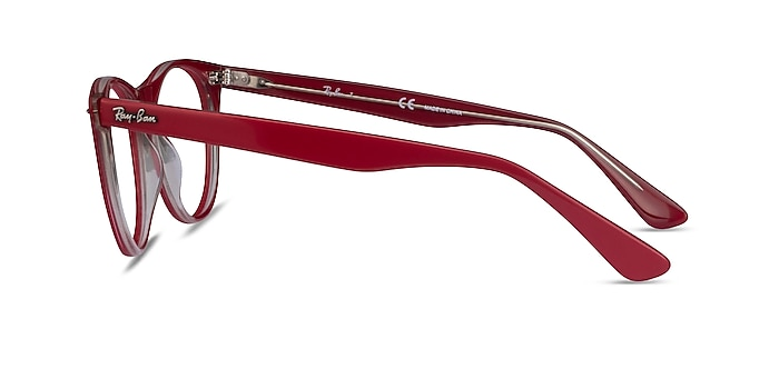 Ray-Ban RB2185V Red Transparent Acetate Eyeglass Frames from EyeBuyDirect