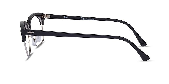 Ray-Ban Clubmaster Square Black & Silver Acetate Eyeglass Frames from EyeBuyDirect