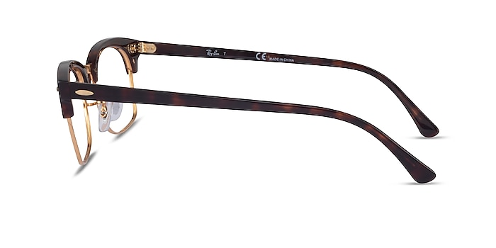 Ray-Ban Clubmaster Square Tortoise & Gold Acetate Eyeglass Frames from EyeBuyDirect