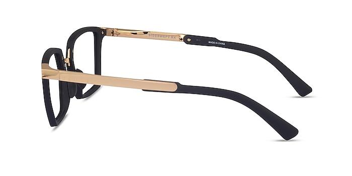 Oakley Sideswept Rx Black & Gold Metal Eyeglass Frames from EyeBuyDirect