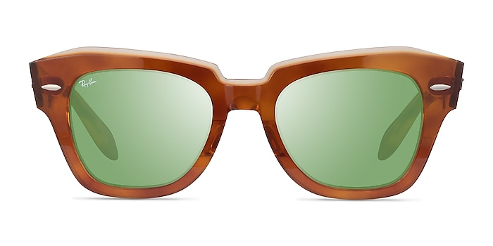 Ray-Ban State Street Havana On Transparent Beige Acetate Sunglass Frames from EyeBuyDirect