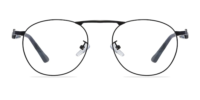 Tarantino Matte Black Métal Montures de lunettes de vue d'EyeBuyDirect