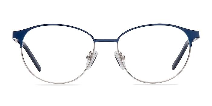 Mamba Navy Silver Metal Eyeglass Frames from EyeBuyDirect