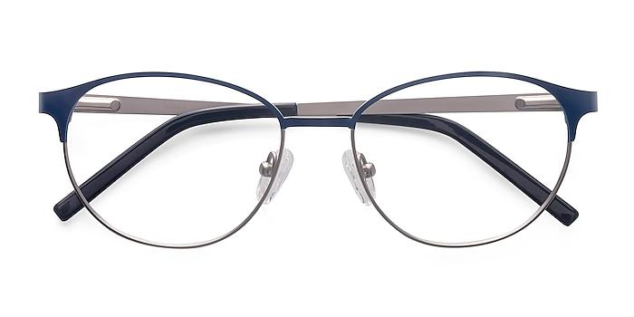 Navy Silver Mamba -  Lightweight Metal Eyeglasses