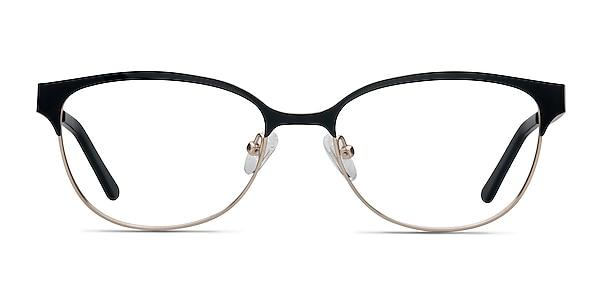 Sapphire Black Golden Metal Eyeglass Frames