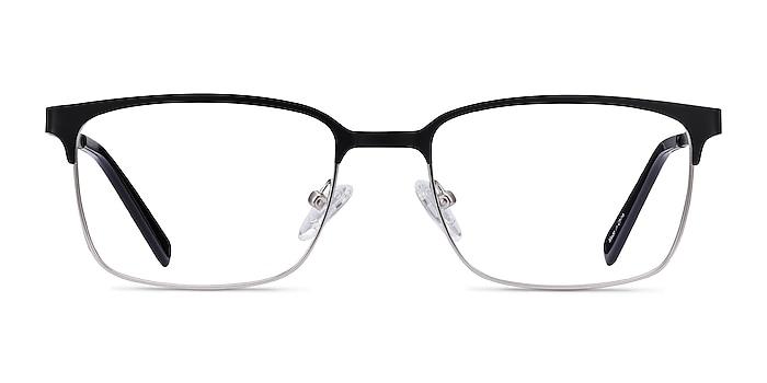 Manchester Black Silver Métal Montures de lunettes de vue d'EyeBuyDirect