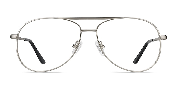 Discover Matte Silver Métal Montures de lunettes de vue d'EyeBuyDirect